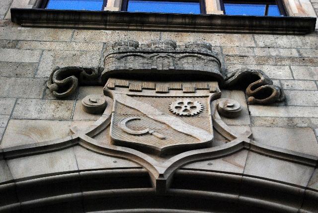 Stadtwappen von Hilden am Portal des Bürgerhaus, Mittelstrasse, Hilden